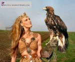 Wild Scottish Woman and                                         Eagle